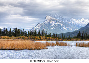 Vermillion Lakes and Mount Rundle near Banff, Alberta - The...