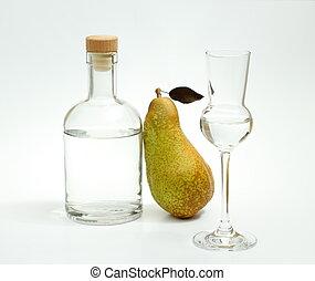verminderen, fetel, peer, met, alcohol, fles, en, glas
