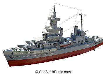 vermindert, model, oorlogsschip