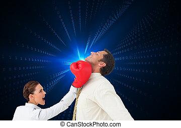 vermischt bild, boxen, geschäftsmann, geschäftsfrau, ...