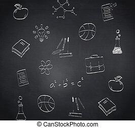 vermischt bild, von, schule, doodles