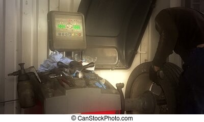 vermoeien, geautomatiseerd, auto, moderne, uitrusting, het...