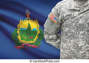 vermont, -, állam, bennünket, katona, lobogó, háttér, amerikai