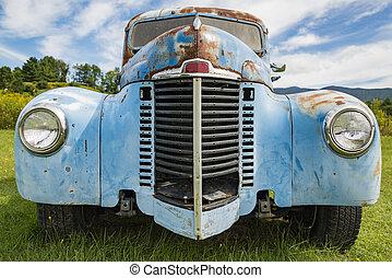 vermont, öreg, vontatott lakókocsi, stowe, berozsdásodott, csereüzlet