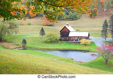 Vermont rural landscape in autumn time
