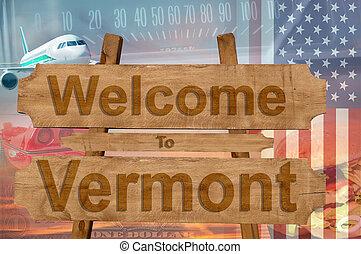 vermont, estados unidos de américa, bienvenida, madera, ...