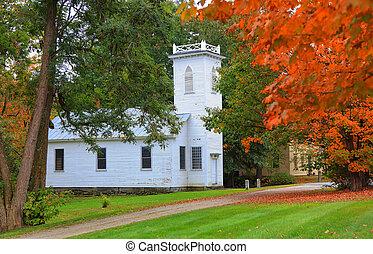 vermont, histórico, royalton, iglesia