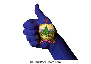 vermont, kciuk, stan, do góry, na bandera, doskonałość, achiev, gest