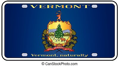 Vermont License Plate Flag - Vermont license plate in the...