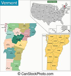 Vermont map - Map of Vermont state designed in illustration ...