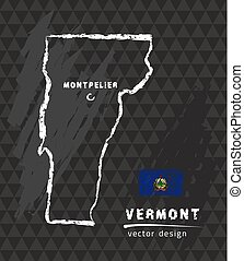 Vermont map, vector pen drawing on black background