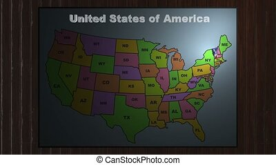 Vermont pull out from USA states abbreviations map - State...