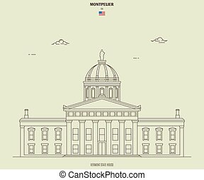 Vermont State House in Montpelier, USA. Landmark icon in ...