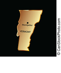 Vermont state usa in gold with capital name