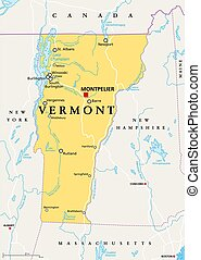 Vermont, VT, political map with capital Montpelier, borders...