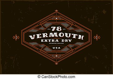 Vermouth label with vintage frame for logo, emblem, sticker...