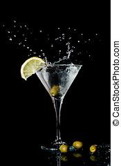 vermut, cóctel, en, cristal de martini