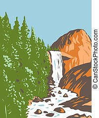 Vernal Fall on the Merced River Just Downstream of Nevada Fall Within Yosemite National Park California USA WPA Poster Art