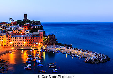Vernazza Castle and Harbor at Early Morning in Cinque Terre,...