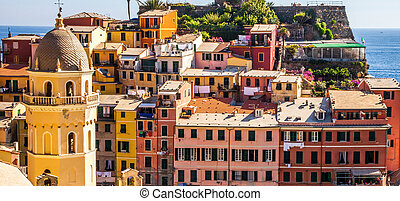 Vernazza, Cinque Terre, Italy - View of the Vernazza fishing...