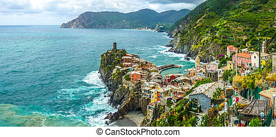 Vernazza, Cinque Terre, Liguria, Italy - Beautiful view of...