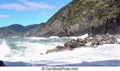 Vernazza, Italy - April 28, 2017 - Sea Storm Hits Vernazza...