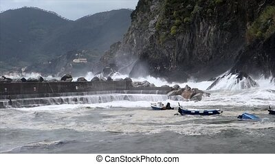 Vernazza, Italy - April 28 - Sea Storm Hits Vernazza As...