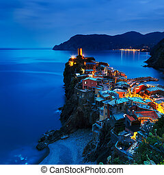 Vernazza village, aerial view on sunset. Cinque Terre, Ligury, Italy