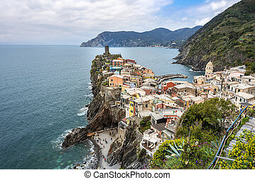 Vernazza village and Cinque Terre coastal area as seen from ...