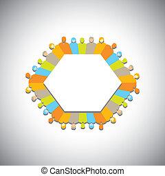 vernetzung, begriff, -, gemeinschaft, vector., sozial, versammlung, geschäftsführung