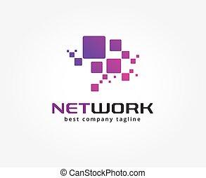vernetzung, brandmarken, concept., logotype, vektor, design, schablone, logo, abstrakt, ikone