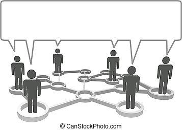 vernetzung, bubble., symbol, leute, kommunizieren, verbunden, vortrag halten , knoten