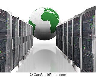 vernetzung, erdball, edv, server, 3d