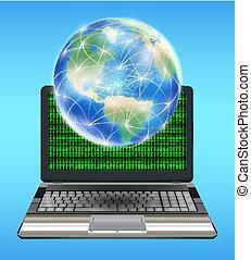 vernetzung, erdball, laptop, erde, schwimmend, linie