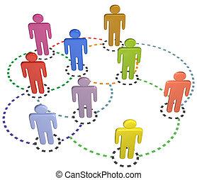 vernetzung, geschäftsmenschen, anschlüsse, sozial, kreis