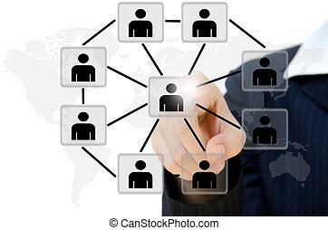 vernetzung, geschäftsmenschen, kommunikation, anschieben, junger, whiteboard., sozial