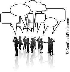 vernetzung, geschäftsmenschen, medien, kommunikation, tun rede zusammen