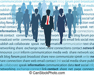 vernetzung, geschäftsmenschen, medien, sozial, begriffe