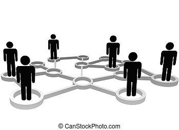 vernetzung, geschäftsmenschen, verbunden, sozial, knoten, oder