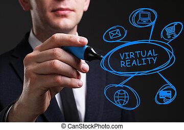 vernetzung, geschaeftswelt, concept., junger, virtuelle wirklichkeit, mann, internet, schreibende, technologie, geschaeftswelt, word: