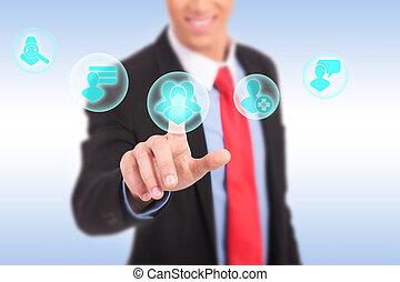 vernetzung, geschaeftswelt, hand, drücken, sozial, mann, ikone