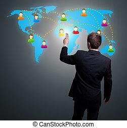 vernetzung, hand, drücken, sozial, mann, ikone