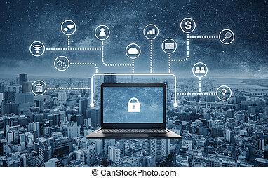 vernetzung, heiligenbilder, system., schloß, laptop, online, programmierung, anwendung, edv, internet, schnittstelle, sicherheit, schirm, ikone