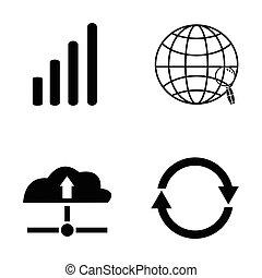 vernetzung, ikone, satz