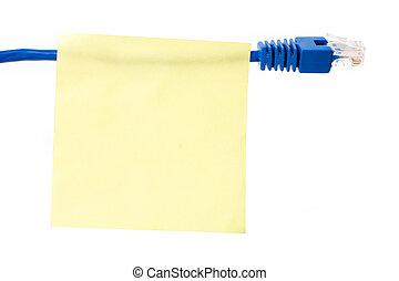 vernetzung, kabel, und, briefpapier