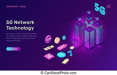 vernetzung, klug, 5g, radio, begriff, technologie, stadt
