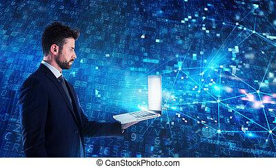 vernetzung, laptop, anwendung, programmierer, arbeiten, mann