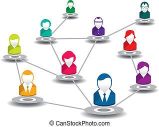 vernetzung, leute, sozial