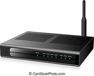vernetzung, modern, freigestellt, hintergrund., schwarz, neu , router, weißes