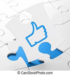 vernetzung, puzzel, hintergrund, sozial, concept:, mögen